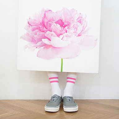pink flower picture and striped pattern socks